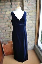 Monsoon UK 14 navy blue velvet twilight fitted evening dress ball prom cruise