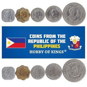 Set 5 Coins Philippines 1 5 10 25 Sentimos 1 Peso 1979 - 1982
