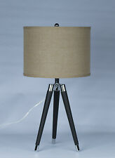 "Urbanest Black Modern Tripod Leather & Chrome Table Lamp w/ 14"" Drum Shade"