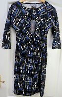 BNWT PHASE EIGHT 8 Lexi Jersey Dress Size 10 Career Work Smart Ruched Black Blue