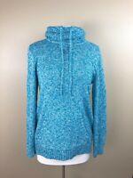 LL Bean Sz M Pullover Sweater 100% Cotton Ragg Cowl Neck Drawstring Blue White