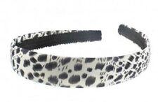 Ladies Girls Childrens White Leopard Print Satin 2.5cm Wide Hair Band Alice Band