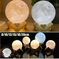 3D USB LED Moon Night Light Lamp Charging Touch Control Home Decor Gift 8-20CM