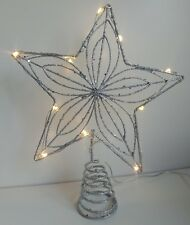 Pre-lit glittery SILVER STAR Christmas tree topper BATTERY OPERATED 20cm NEW