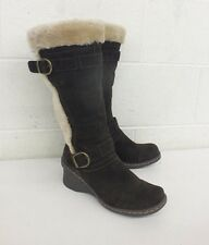Baretraps 'Catchy' Dark Brown Suede Faux Shearling Wedge Boots US Men's 9.5 LOOK