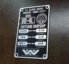 CUSTOM ALIENS UD-4L CHEYENNE DROPSHIP SPECIFICATIONS DATA PLATE PROP