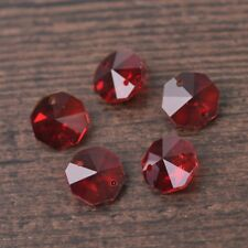 10pcs 14mm 2 Holes Octagon Faceted Crystal Glass Charms Loose Beads Red