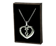 """Initial Heart Necklace """"J"""" - 18ct White Gold Plated - Engagement Anniversary"""