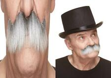 Mustaches Fake Mustache, Self Adhesive, Novelty, Rocking Gray With White