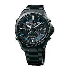New Seiko Astron Solar GPS Chronograph Black PVD Men's Watch SSE013