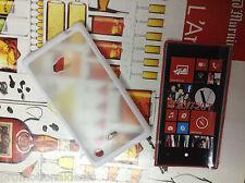 White Rubber Bumper Transparent Solid Back Case Cover for Nokia Lumia 720