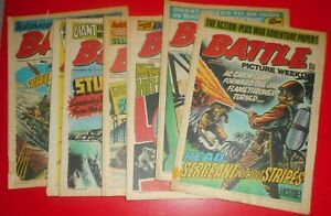 9 BATTLE PICTURE WEEKLY COMICS , 1975 , MIXED CONDITION . THE RATPACK .