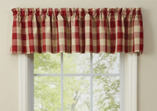 "Park Designs WICKLOW GARNET and Tan Buffalo Check Unlined Window Valance 72""x14"""