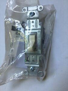 Hubbell Commercial 4-Way Toggle Switch 15/20A 120/277V Lt. Almond (A)