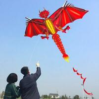 52inch x 63inch New Fiery Dragon Kite Single Line with Tail Good Flying as Gift