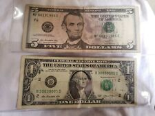 *WOW* 2013 $5 Five Dollar Bill & $1 (RARE) Fancy serial number BINARY MONEY L@@K