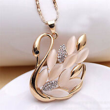 Charm Crystal Swan Pendant Necklace Rhinestone Sweater Chain Collar Necklace LZ