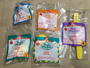 NEW Vintage McDonalds Happy Meal 1994 Polly Pocket Complete set 4 +U3 Ring Watch