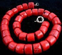 collier , Beau chanceux cylindrique rouge corail collier 45cm