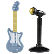Custom Minifig Sand Blue Color Electric Guitar, Mic & Lego Stand *NEW*