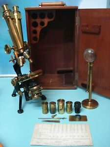 Complete Antique Watson & sons of London Georgian BINOCULAR BRASS MICROSCOPE BOX