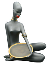 """Mid Century Ceramic Figurine African Women with Bowl in Bast Skirt 1950´s 9¼"""" h"""