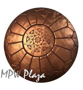 MPW Plaza Pouf, Bronze, Moroccan Leather Ottoman (Un-Stuffed)
