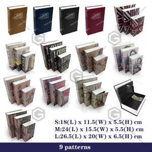 Dictionary Cash Money box Locker Book Secret Hidden Security Safe Key Lock