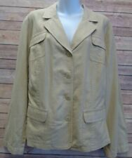 Apt 9 Woman Size 22W Beige Jacket Blazer 55% Linen Blend Single Breasted Plus