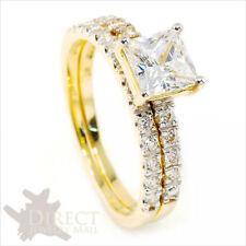 9ct REAL GOLD 2ct Princess Cut Created DIAMOND ENGAGEMENT Ring Bridal Set H-V