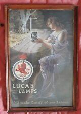 Lucas British Made Lamps Promotional Poster Framed Edwardian Logo Oil Lamp Lady