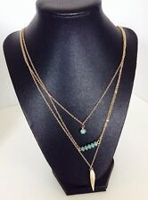 """Nordstrom 3 Row Charm Necklace Goldtone Leaf Blue/Green Beads 30"""" $20"""