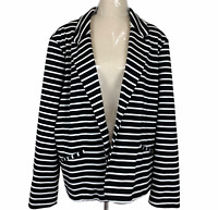 Autograph Womens Black/White Striped Single Button Lined Jacket Plus Size 20