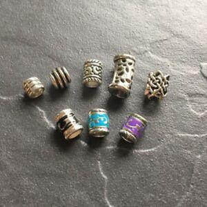 8 skinny dread beads hair braid / beard beads 4mm - 4.8mm hole dia. Mixed alloy.