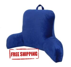 Plush Backrest Pillow Bed Cushion Support Reading Back Rest Arms Chair, Blue