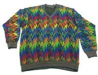 Tundra Mercerized Cotton Sweater Crazy Rainbow Hip Hop Vintage Mens L