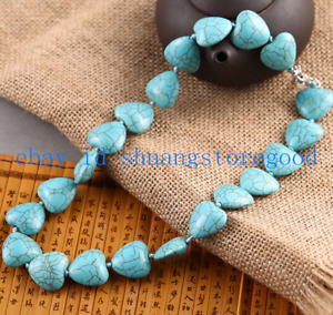 Pretty 12mm Natural Blue Turquoise Heart Gemstone Beads Necklace 18'' AAA