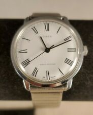 Retro Timex White Roman Numeral England Dial Mens Watch 35mm See Pics Mechanical
