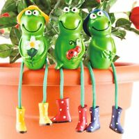 Frog Garden Ornaments Sitting Toad Plant Pot Perchers Figures Outdoors Set of 3