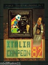 1982-RéP.CENTRAFRICAINE//SOCCER-COUPE-MONDE ESPAGNE.82//BLOC.TIMBRE OR NEUF**
