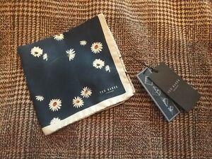 BNWT Mens Ted Baker Flower Print Pocket Square Navy Mix 100% Silk
