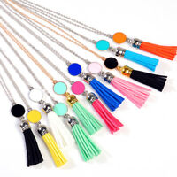 Long Leather Tassel Pendant Necklace for Women Fashion Boho Bohemian Jewelry 1PC