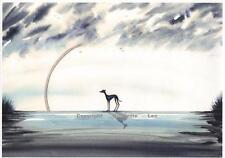 Whippet Galgo Perro Arco iris Acuarela Pintura por Bridgette Lee