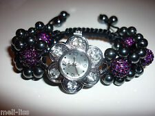 Shamballa Burgundy Czech Crystal Bracelet Watch-FREE Matching Bracelet Value $15