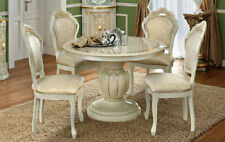 Esstisch Beige Hochglanz Rund Ausziehbar Säulen Sockel Barock Italienische Möbel