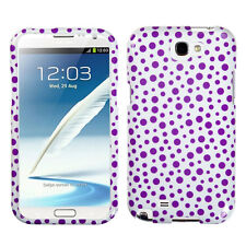 For Samsung Galaxy Note II 2 HARD Case Snap On Phone Cover Purple Mixed Dots