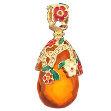 Faberge Egg Pendant / Charm Flowers with crystals 3.2 cm #Pc-0583