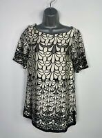 WOMENS RIVER ISLAND SIZE UK 8 BLACK&IVORY FLOWER SATIN SHORT SLEEVE BLOUSE SHIRT