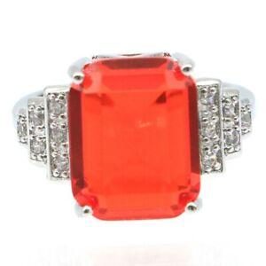 Pretty Orange Spessartine Garnet White CZ Gift For Girls Silver Ring 7.5