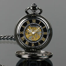 PACIFISTOR Skeleton Mechanical Pocket Watch Analog Vintage Steampunk Black Chain